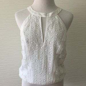 Bebe Floral Lace Top in White